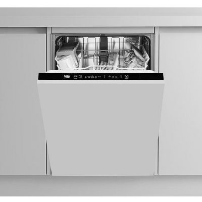 Beko DIN15R11 Fully Integrated Standard Dishwasher - Silver Control Panel with Fixed Door Fixing Kit - A+ Rated Best Price, Cheapest Prices