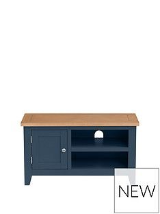 Julian Bowen Richmond Ready Assembled Tv Unit - Fits Up To 38 Inch Tv - Midnight Blue Best Price, Cheapest Prices