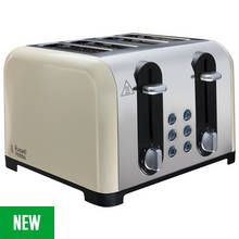 Russell Hobbs 22408 Worcester 4 Slice Toaster - Cream Best Price, Cheapest Prices