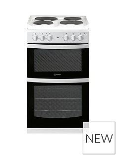 Indesit ID5E92KMW 50cm Electric Solid PlateTwin Cavity Single Oven Cooker - White Best Price, Cheapest Prices