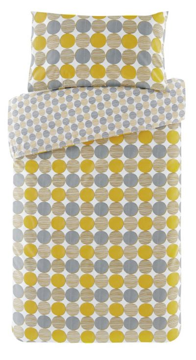 Argos Home Mustard and Grey Circles Bedding Set - Single Best Price, Cheapest Prices