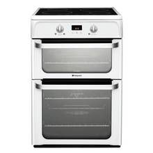 Hotpoint Ultima HUI612 P 60cm Double Electric Cooker - White Best Price, Cheapest Prices