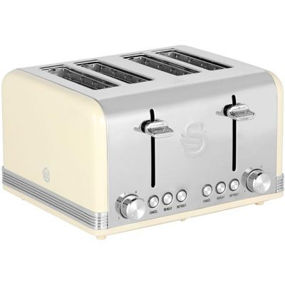 Swan Retro ST19020CN 4 Slice Toaster - Cream Best Price, Cheapest Prices