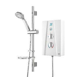 Wickes Hydro Digital Electric Shower & Adjustable Riser Kit - White 8.5kW Best Price, Cheapest Prices