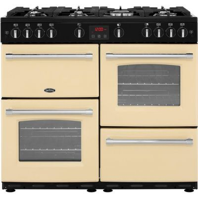 Belling Farmhouse100G 100cm Gas Range Cooker - Cream - A/A Rated Best Price, Cheapest Prices