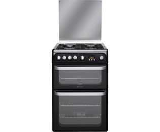 Hotpoint Ultima HUG61K 60cm Gas Cooker with Variable Gas Grill - Black Best Price, Cheapest Prices