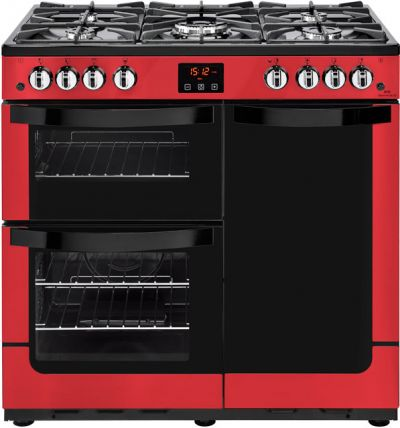 Newworld Vision 90G 90cm Gas Range Cooker with Electric Fan Oven - Red - B/A Rated Best Price, Cheapest Prices