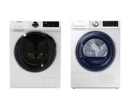 SAMSUNG DV80N62532W Smart 8 kg Heat Pump Tumble Dryer & WW80M645OPW Smart 8 kg 1400 Spin Washing Machine Bundle Best Price, Cheapest Prices