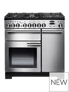 Rangemaster  PDL90DFFSS Professional Deluxe 90cm Wide Dual Fuel Range Cooker - Stainless Steel Best Price, Cheapest Prices