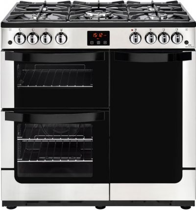 Newworld Vision 90G 90cm Gas Range Cooker with Electric Fan Oven - Stainless Steel - B/A Rated Best Price, Cheapest Prices