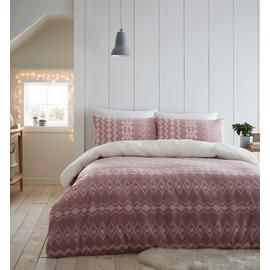 Catherine Lansfield Blush Alpine Fleece Bedding Set - Double Best Price, Cheapest Prices