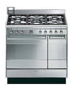 Smeg SUK92MX9 90cm Double Oven Dual Fuel Concert Range Cooker - Stainless Steel Best Price, Cheapest Prices