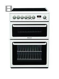 Hotpoint Newstyle HAE60PS 60cm Double Oven Electric Cooker with Ceramic Hob - White Best Price, Cheapest Prices