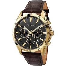 Accurist Men's Brown Leather Strap Chronograph Watch Best Price, Cheapest Prices