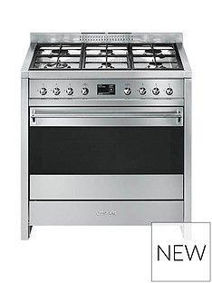 Smeg A1-9 90cm Wide Opera Stainless Steel Single Cavity Dual Fuel Range Cooker Best Price, Cheapest Prices
