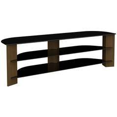 AVF Up to75 Inch TV Stand - Black Glass and Walnut Effect Best Price, Cheapest Prices