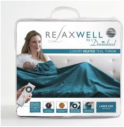 Relaxwell by Dreamland Heated Throw - Teal Best Price, Cheapest Prices