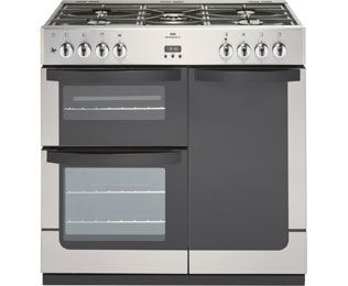 Newworld VISION90G 90cm Gas Range Cooker with Electric Fan Oven - Stainless Steel - A Rated Best Price, Cheapest Prices