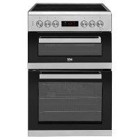 Beko KDC653S 60cm Double Oven Electric Cooker With Ceramic Hob And Programmable Timer Silver Best Price, Cheapest Prices