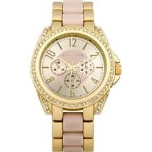 Identity Ladies Gold Tone with Pink Inlay Bracelet Watch Best Price, Cheapest Prices