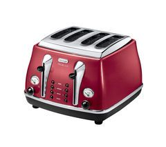 DELONGHI Micalite CTOM4003R 4-Slice Toaster - Red Best Price, Cheapest Prices