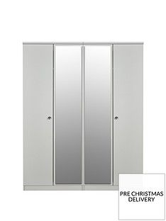 SWIFT Verve Ready Assembled 4 Door Mirrored Wardrobe Best Price, Cheapest Prices