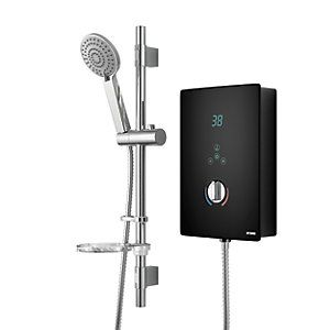 Wickes Hydro LED Lit Touch Control Electric Shower Kit - Black/Chrome 8.5kW Best Price, Cheapest Prices