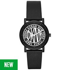 DKNY Black and White Dial Black Leather Strap Watch Best Price, Cheapest Prices