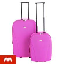 Go Explore 2 Piece Soft 2 Wheeled Luggage Set - Pink
