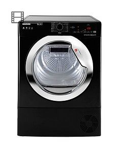 Hoover Dynamic Next DXH9A2TCEB 9kg Load, Aquavision, Heat Pump Tumble Dryer with One Touch - Black/Chrome Best Price, Cheapest Prices