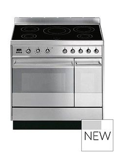 Smeg SY92IPX8 90cm Symphony Stainless Steel Dual Cavity Pyrolytic Induction Range Cooker Best Price, Cheapest Prices
