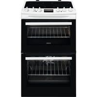 Zanussi ZCV46250WA 55cm Double Oven Electric Cooker With Ceramic Hob - White Best Price, Cheapest Prices