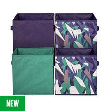 Argos Home Pack of 4 Camo Canvas Boxes