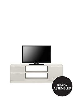 Ideal Home Bilbao Ready Assembled High Gloss Large TV Unit - Grey - fits up to 65 inch TV Best Price, Cheapest Prices
