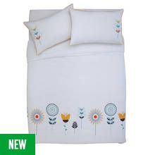 Argos Home Retro Embroidery Bedding Set - Double Best Price, Cheapest Prices