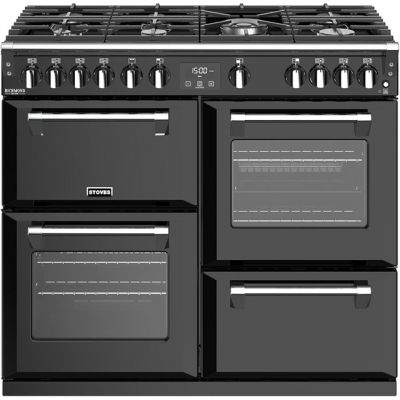 Stoves Richmond Deluxe S1000G 100cm Gas Range Cooker with Electric Grill - Black - A/A/A Rated Best Price, Cheapest Prices