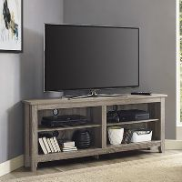 Foster Grey Wood Effect Corner TV Unit with Open Shelves - TV's up 60