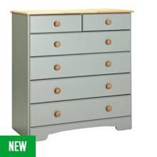 Argos Home Nordic 4+2 Drawer Chest - Grey & Pine Best Price, Cheapest Prices