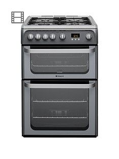 Hotpoint Ultima HUG61G 60cm Double Oven Gas Cooker with FSD - Graphite Best Price, Cheapest Prices