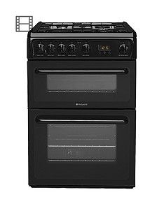 Hotpoint NewstyleHAG60K 60cm Double Oven Gas Cooker with FSD - Black Best Price, Cheapest Prices