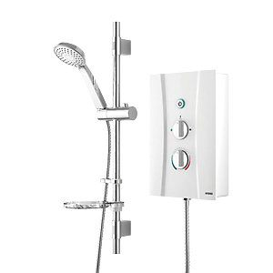 Wickes Hydro Thermostatic Electric Shower & Adjustable Riser Kit - White 8.5kW Best Price, Cheapest Prices