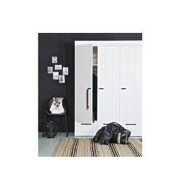 Woood Connect White 3 Door 3 Drawer Wardrobe Best Price, Cheapest Prices