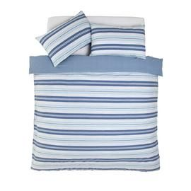 Argos Home Light Blue Striped Bedding Set - Double Best Price, Cheapest Prices