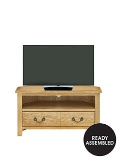 Luxe Collection - London Oak Ready Assembled Corner Tv Unit - Fits Up To 40 Inch Tv Best Price, Cheapest Prices