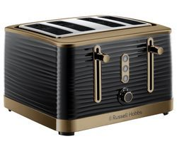 R HOBBS Inspire Luxe 24385 4-Slice Toaster - Black & Brass Best Price, Cheapest Prices