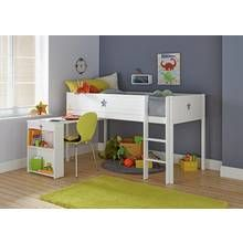 Argos Home Stars White Mid Sleeper Bed Frame with Desk Best Price, Cheapest Prices