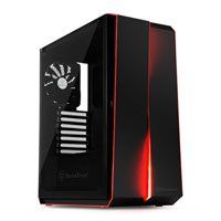 SilverStone RL07B-G-Red Line Black Midi Tower ATX Gaming Case Tempered Glass Window Silent Best Price, Cheapest Prices