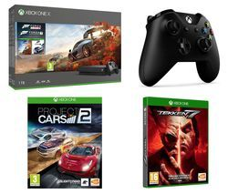 MICROSOFT Xbox One X, Forza Horizon 4, Forza Motorsport 7, Tekken 7, Project Cars 2 & Wireless Controller Bundle Best Price, Cheapest Prices