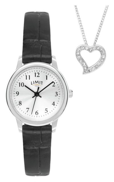 Limit Ladies Black Faux Leather Strap Watch & Heart Pendant Best Price, Cheapest Prices