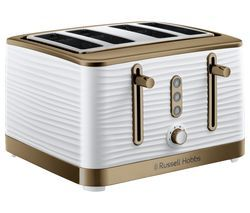 R HOBBS Inspire Luxe 24386 4-Slice Toaster - White & Brass Best Price, Cheapest Prices